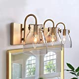 "KSANA Gold Vanity Light Fixture for Bathroom with Clear Glass Shades, 22"" L, Brass Finish"