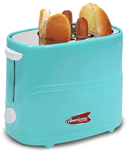 Elite by Americana ECT-542BL Retro Pop-Up Hot Dog and Bun Toaster Cooker Machine with Tongs, Heat Veggie Links Kosher Beef Turkey Sausages Bratwurst, 2 Slice