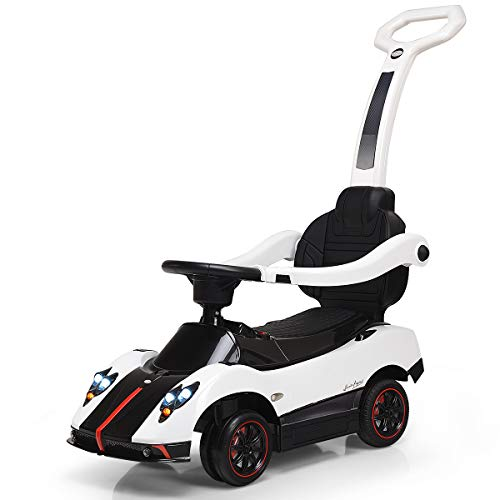 Costzon Ride On Push Car, 3 in 1 Licensed Pagani 6V Electric Battery Powered Toddler Play Toy Car w/ Handle Lights, Music, MP3, Aux Plug in, Push Round Buggy (White)