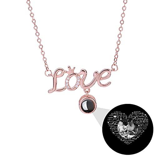 Collar de proyección personalizado Collar de foto TE QUIERO Collar Collar de 100 idiomas Colgante de amor para mujer(Oro rosa Blanco y negro 14)