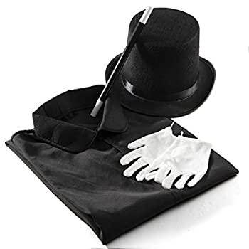 Prextex Magician Costume for Kids - Kiddie Role Play Halloween Magician Dress Up Set Top Hat Cape Magic Wand and White Gloves