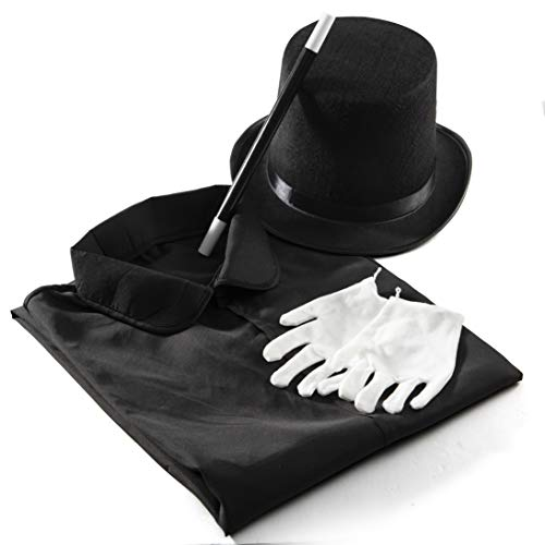 Prextex Magician Costume for Kids - Kiddie Role Play Halloween Magician Dress Up Set, Top Hat, Cape, Magic Wand and White Gloves