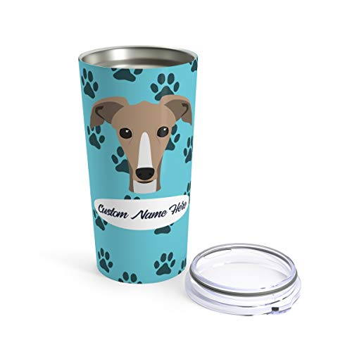 Custom Greyhound Travel Mug - Personalized Tumbler or Mug for Coffee Beer Warm Cold Drinks Men Women Dogs Gifts