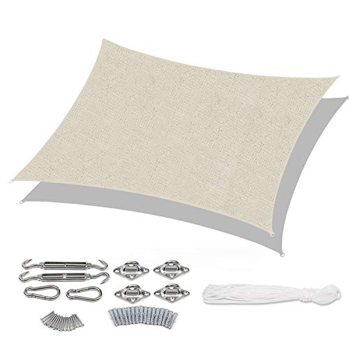 Sekey Tenda a Vela Parasole Rettangolare Traspirante Permeabile in HDPE, Protezione Antivento con Protezione UV per Giardino Terrazza Campeggio Patio Party, con Corda e Kit di Fissaggio, Taupe 3×5m