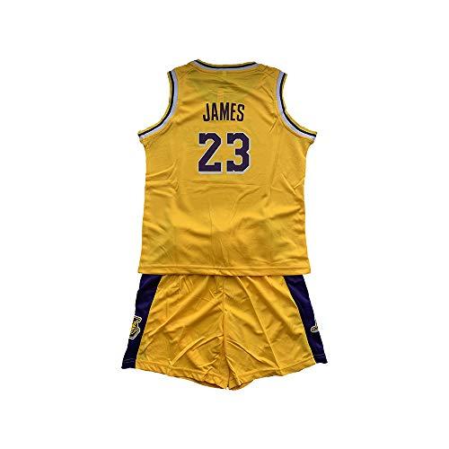 RAAVIN Lebron James # 23 Jersey Bambini Maglia Pantaloncini da Basketball Jersey Set di Abbigliamento Sportivo Maglie,Children Jersey,Giallo(M)