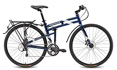 Montague Navigator 27 Speed, Folding Hybrid commuter Bike, 700c Custom drawn 7005 Series Aluminum with DirectConnect System Midnight Blue 21 Inches-New Model