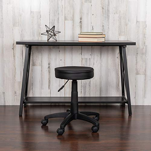 Flash Furniture Black Adjustable Doctors Stool on Wheels with Ergonomic Molded Seat