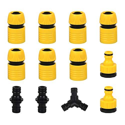 BELIOF Set Connettore per Tubi da Giardino in Plastica Raccordi per Tubi da Giardino Irrigazione Raccordo Rapido Tubo Acqua Connettore Doppio per Tubo Connettore del Tubo ABS Connettore 2 in 1