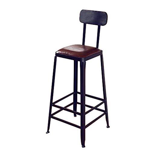 HHJJ Silla de juego de PU taburetes con reposapiés con respaldo suave acolchado sillas antideslizantes, apto para barra de bar Cafe -45208S6U0L (color: negro, tamaño: 40 x 40 x 106 cm)
