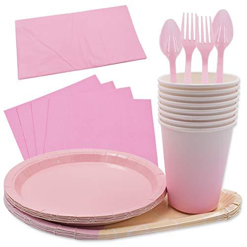 61PCS Platos para Fiestas de Helados Vajilla Desechable Ecológica Platos de Papel Biodegradables Tenedores Manteles Toalla de Papel Cucharas Combo para Fiesta Camping Picnic- Gradiente de Color Rosa
