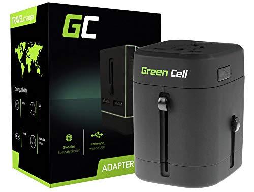 Original Green Cell Internationaler Reiseadapter Reisenetzteil US UK EU AU Stecker mit 2 USB-Anschlüssen & Universal-Steckdose, Elegantem Transportetui, Kompatibel im über 150 Länder