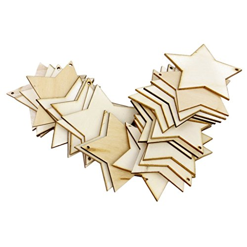 ForuMall 25 x Holzstern-Formen, blanko Holz-Etiketten mit Loch 50mm