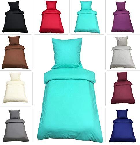 Leonado-Vicenti Uni Bettwäsche 135x200 cm 4 teilig / 2 teilig Renforce Baumwolle Bettbezüge Set, Farbe:Türkis, Maße:2 teilig 135x200 cm
