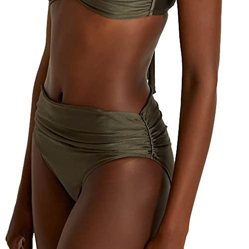 Lenny Niemeyer High Waist Full Bikini Bottom in Fog Khahi Grey (XL, x_l)