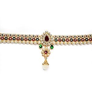 Beeline Rajwara Wedding Pearl And Kundan Traditional Belly Waistbelt | Multicolor Flower Beautiful Kamarbandh For Women