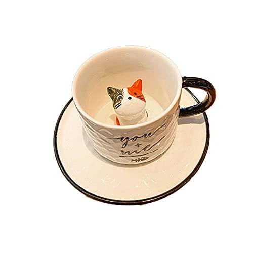 Juego de tazas de café de cerámica de gato de dibujos animados de 220 ml, taza de tetera, taza de té, un bonito regalo para mujer