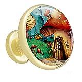 Perillas de cristal Casa de setas de dibujos animados Tiradores de cajón Tiradores de cocina Tiradores de armario Tiradores para armario de baño, armario de tocador 4 piezas