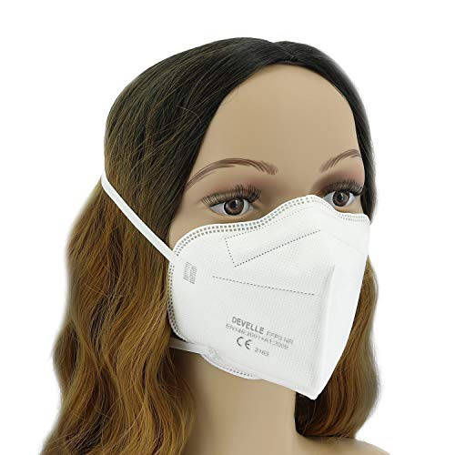 FFP3 Atemschutzmaske 10 Stück Packung DEVELLE Schutz Maske mit CE Zertifizierung und Kopfband - 5