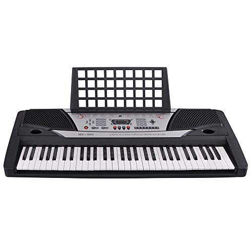 AW 61 Key Electronic Keyboard Digital Electric Piano with Sheet Music Stand LCD Display for Personal Beginner EN71
