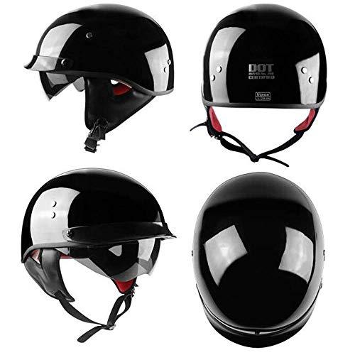 WGFGXQ Casco de Moto Retro, Medio Casco de Moto Scooter Unisex de Verano, certificación Dot/ECE, Gafas integradas, Negro, XL