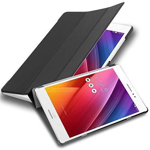 Cadorabo Tablet Hülle für Asus ZenPad S 8.0 (Z580CA / Z580C) in Satin SCHWARZ – Ultra Dünne Book Style Schutzhülle mit Auto Wake Up & Standfunktion aus Kunstleder