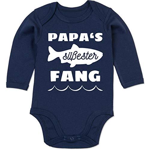 Shirtracer Sprüche Baby - Papas süßester Fang - 3/6 Monate - Navy Blau - Body Papas süßester fang - BZ30 - Baby Body Langarm