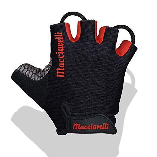 MACCIAVELLI Fitness Handschuhe Trainingshandschuhe Kraftsport (Schwarz | Rot - ohne Handgelenkstütze, L)