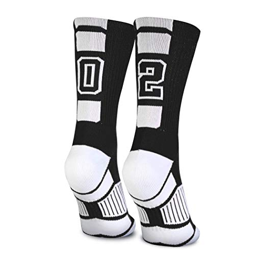 Custom Team Number Crew Socks | Athletic Socks by ChalkTalkSPORTS | Black | 02