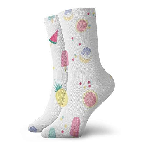OOworld Atmungsaktive Sportstrümpfe für Herren und Damen Blaubeer-Erdbeer-Eis am Stiel Wassermelone Lustige Polyester-Crew-Socken 30 cm (11,8 Zoll)
