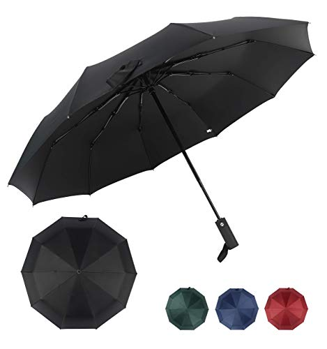 ITAVL Folding Umbrella 10 ribs Ergonomic handle auto open and close,waterproof travel umbrella with Non-slip Handle,Windproof Double Canopy (Black)