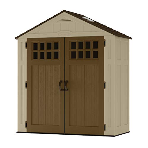 Suncast 6' x 3' Vertical Shed Outdoor Storage for Backyard Tools and Accessories All-Weather Resin Material, Transom Windows and Shingle Style Roof, Wood Grain Texture