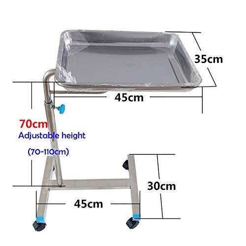 ZLL Krankenhauswagen, medizinischer Bedarf Rack-Medical Cart Tool Rollwagen für medizinische Geräte für den Operationssaal, höhenverstellbar, Chirurgischer Servierwagen aus Edelstahl mit Universalrad