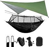 ZHZHUANG Hamaca portátil de paracaídas para acampar con lona de lluvia, hamacas de nailon para acampar, colgar cama de dormir, verde y negro
