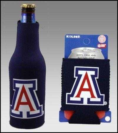 College Team Color Logo Can & Bottle Holder Insulator Beverage Cooler Set (Arizona Wildcats)