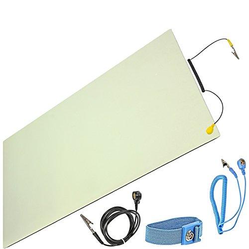 Minadax® ESD Antistatik-Matte 30cm x 55cm - inkl. Manschette + Verlängerung - Professionelle Antistatische Arbeitsmatte - PVC-Matte mit Erdungskabel - Qualität - ESD-Schutz