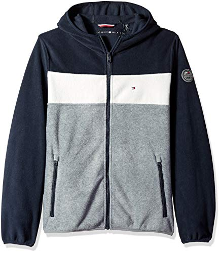 Tommy Hilfiger Men's Hooded Performance Fleece Jacket, navy/white/light grey, Large