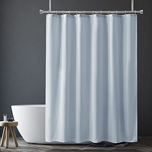 Amazer Light Gray Shower Curtain Liner, Light Gray Fabric Shower Liner, 2-in-1 Bathroom Shower Curtain and Liner, 12 Grommet Holes, Water Proof, Machine Washable, Hotel Quality, 72 x 72 Inches