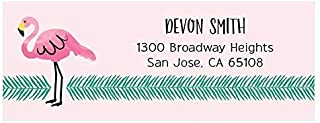 Custom Pink Flamingo - Personalized Tropical Summer Party Return Address Labels - Set of 30