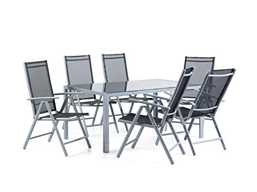 Beliani 7 Piece Patio and Garden Dining Set Chairs and Table Black Powder Coated Aluminum Catania