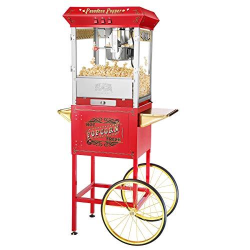 Great Northern Popcorn 971230CDU Antique Popcorn Machine and Cart, 8oz, Red
