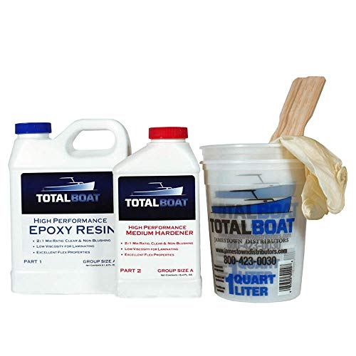 TotalBoat High Performance Epoxy Kit, Crystal Clear Marine Grade Resin and Hardener for Woodworking, Fiberglass and Wood Boat Building and Repair (Quart, Medium)