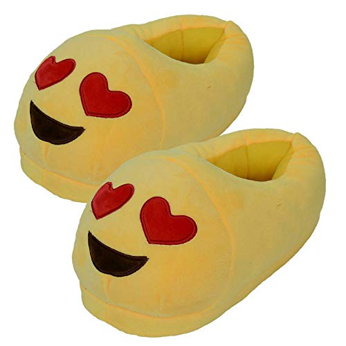 EC Outlets Emoji Emoticon Slip On Stuffed Emoji Plush Slippers Yellow, 10 Wide