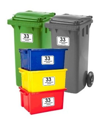 Bin Stickers SET OF 5 Chamfered Corners House Number Street Name Waterproof Printed Wheelie Bin Vinyl Box Crate Number Stickers and Letter A6