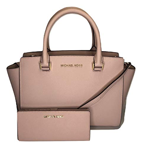 MICHAEL Michael Kors Selma MD TZ Satchel bundled with Jet Set Travel Slim Bifold Wallet (Blossom)