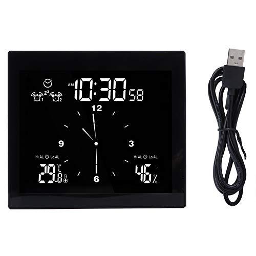Reloj de pared digital, baño, ducha, pantalla grande calendario mes fecha ventosa soporte reloj marco negro, 4,6 x 4,1 x 1,4 pulgadas