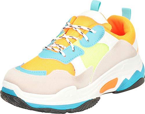 Cambridge Select Women's Retro 90s Ugly Dad Lace-Up Chunky Platform Fashion Sneaker,8 B(M) US,Orange