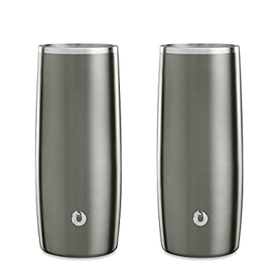 Snowfox Insulated Stainless Steel Cocktail Glass/Drink Tumbler, 14.5-ounce, Set of 2, Olive Grey