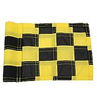 速乾性UV耐性アンチフェードフラッグ、パッティンググリーンフラッグ、屋外裏庭用チェッカーナイロンアンチブロッキング(Black yellow)
