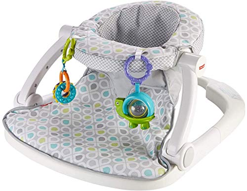 Fisher-Price Sit-Me-Up Floor Seat [Amazon Exclusive], Grey/Green/Blue (FLD88)