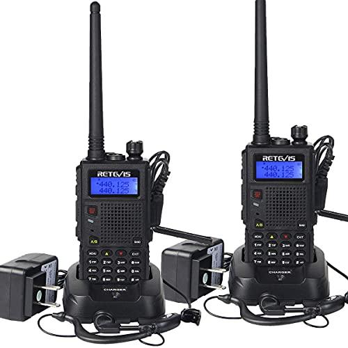 Retevis RT5 Dual Band Two Way Radio, Long Range Walkie Talkies, Flashlight Police Handheld Radio, VOX Rechargeable 2 Way Radio with Earpiece (2 Pack)